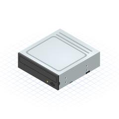 Isometric Disc Drive Vector Illustration