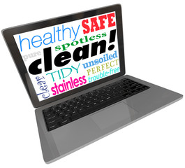 Clean Words Computer Laptop Screen Safe Website Virus Free