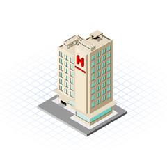 Isometric Hospital Building Vector Illustration
