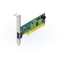 Isometric Network Card Vector Illustration