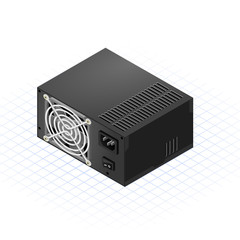 Isometric Power Supply Vector Illustration