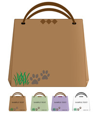 Brown reusable paper bag on white background