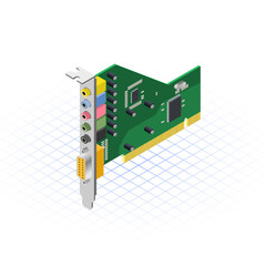 Isometric Sound Card Vector Illustration