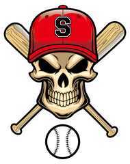 skull wear a baseball hat