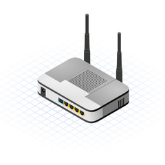 Isometric Wireless Router Vector Illustration