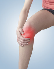 Pain in a woman knee.