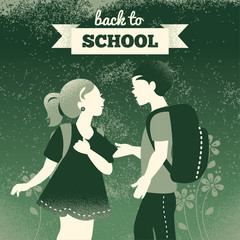 Vintage students background. School boy and girl.