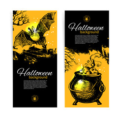 Set of Halloween banners. Hand drawn illustration