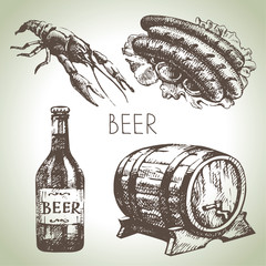 Oktoberfest set of beer. Hand drawn illustrations