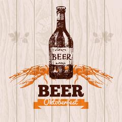 Oktoberfest vintage background. Beer hand drawn illustration.