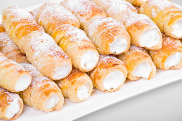 tube of pastry filled with snow
