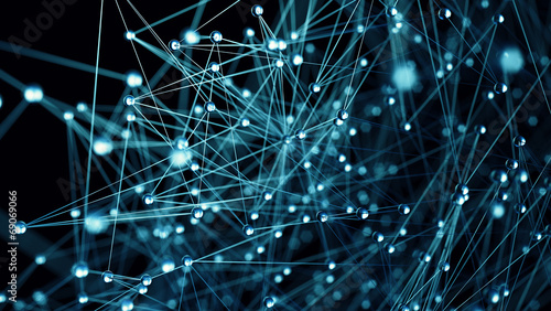 Molecular structure illustration close up blue background - 69069066