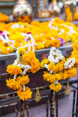 Marigolds garlands on temple fence