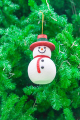 Snowman Ornament on Christmas Tree