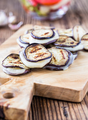 Roasted eggplant slices with mozzarella