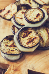 Roasted eggplant slices with mozzarella
