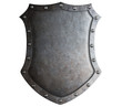 canvas print picture - big medieval metal shield isolated on white
