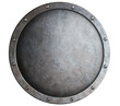 Leinwandbild Motiv round metal medieval shield isolated