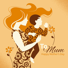 Beautiful silhouette of mother and baby in retro style.