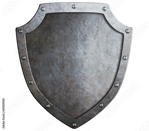 medieval metal shield isolated on white - 69069400