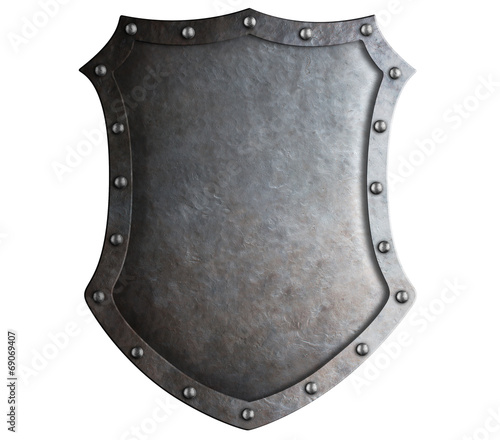 big medieval metal shield isolated on white - 69069407