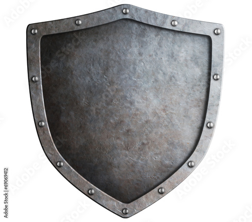 Leinwanddruck Bild metal shield isolated