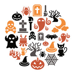 Halloween Icons in Circle Shape