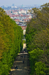 Cityscape telephoto view of Vienna from Schoenbrunn palace