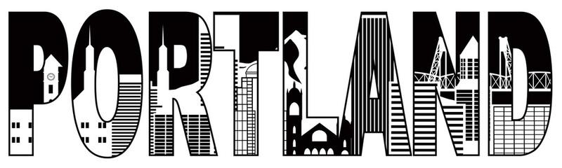 Portland Oregon Skyline Text Outline Black and White Illustratio