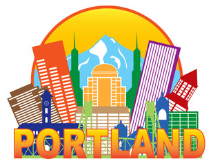 Portland Oregon Skyline Circle Color Vector Illustration