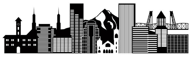Portland Oregon Skyline Black and White Illustration