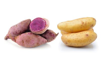 potato and yam isolated on white background