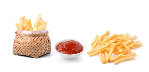 tomato sauce and french fries  isolated on white background