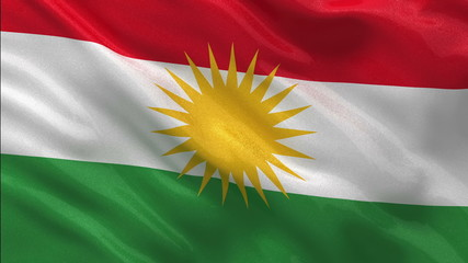 Flag of Kurdistan waving in the wind - seamless loop