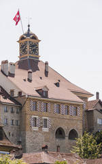 Murten, Altstadt, historisches Rathaus, See, Sommer, Schweiz