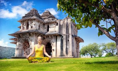 Yoga near Lotus Mahal in Hampi