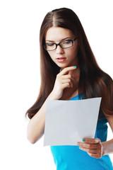woman reading document