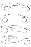 Fototapety An Illustrated outline of Cars