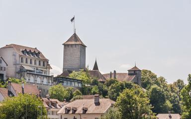 Murten, Altstadt, Seeufer, Murtensee, Sommer, Schweiz