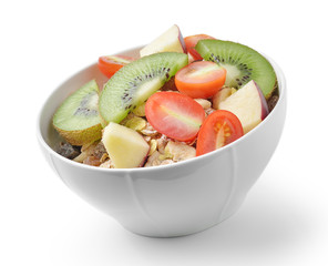 Healthy breakfast with muesli isolated on white background