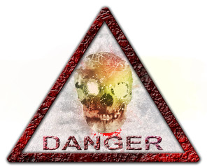 Danger skull sign or symbol, isolated over white