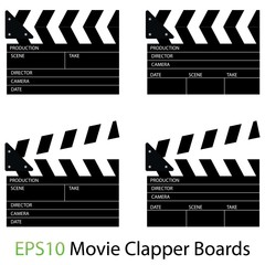 Illustrations of Movie Clapper Boards on White Background