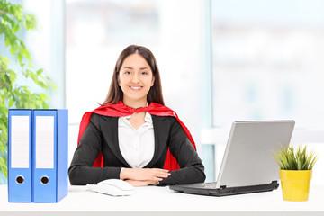 Businesswoman in superhero costume