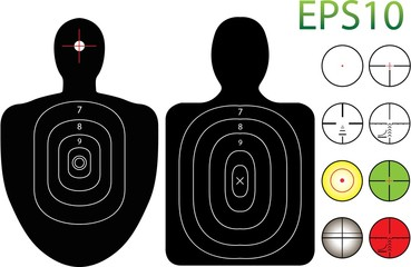 Illustration of Targets with a Selection of Recticles