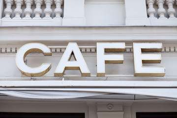 cafe sign on facade