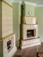 Two tiled stoves
