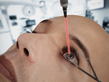 Laser eye surgery on 3D CGI character poster