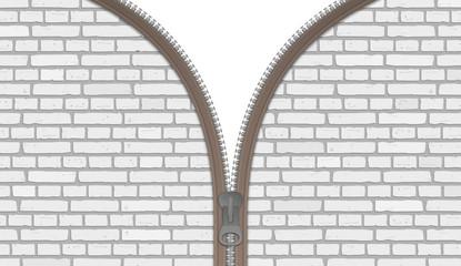 Steine Reißverschluss Wand