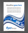 Flyer or cover design with technological pattern