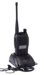 Portable radio transmitter and headphone